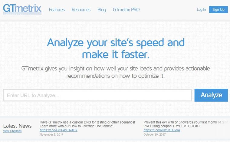 GTMetrix.com - сервис для проверки скорости загрузки сайта