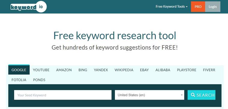 Keyword.io - бесплатный инструмент для исследования ключевых слов