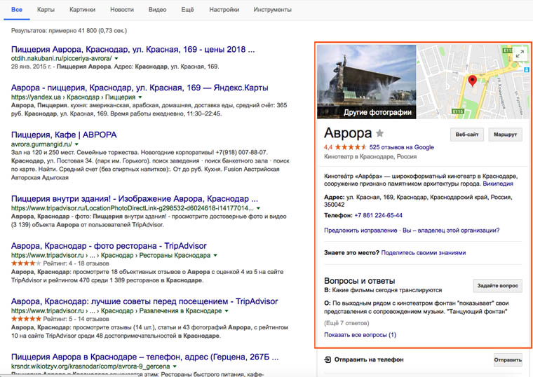 Google Local SEO сниппет