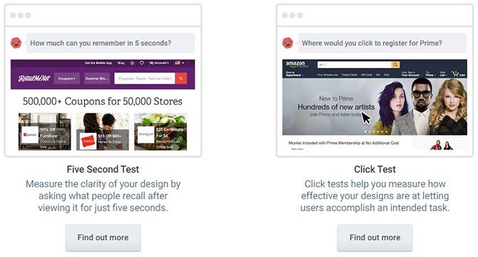 Варианты тестирования на сайте Usabilityhub.com