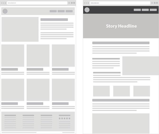 Макет контента на странице