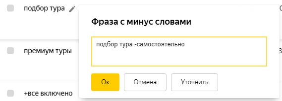 Минус-слова в Яндекс.Директ