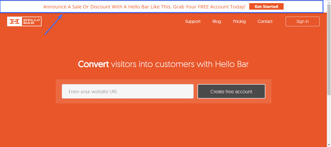 Notification bar widget for website